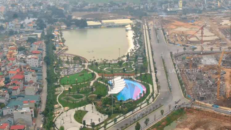 Công viên trung tâm 10,2ha đã hoàn thiện 70%, khu vực quảng trường đã được giải tỏa mặt bằng