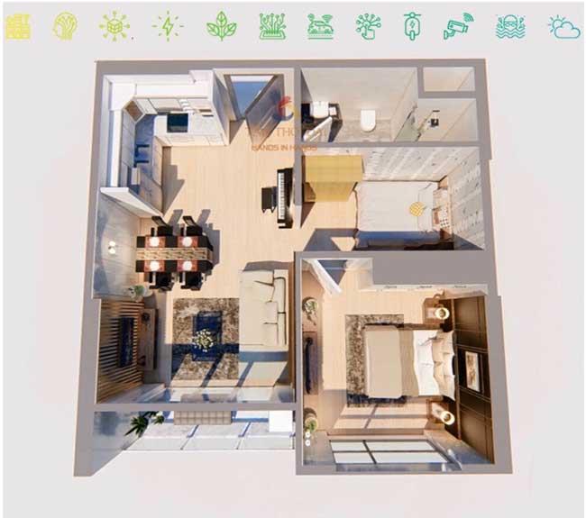 Mẫu căn hộ 1 phòng ngủ mẫu 2