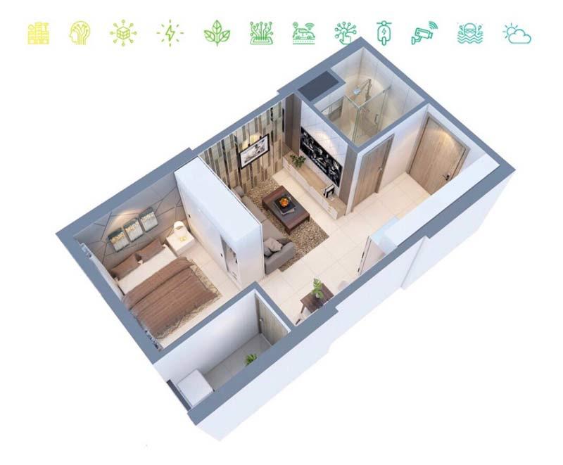 Thiết kế căn hộ Studio 1 phòng ngủ mẫu 1