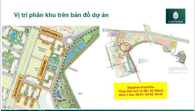 Vị trí phân khu trên bản đồ dự án