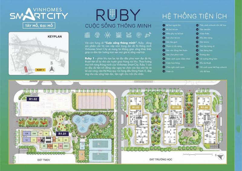 Mặt bằng phân khu Ruby Vinhomes Smart City