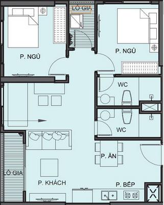 Mặt bằng chi tiết căn hộ S1.111815A - Tòa S1.11