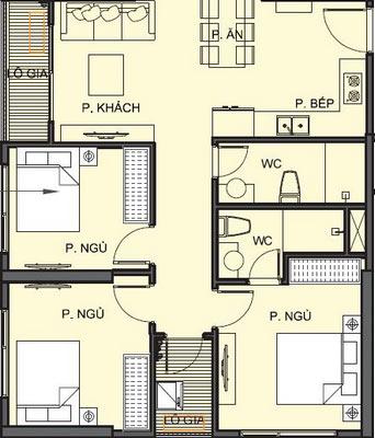 Mặt bằng chi tiết căn hộ S1.115A05 - Tòa S1.11
