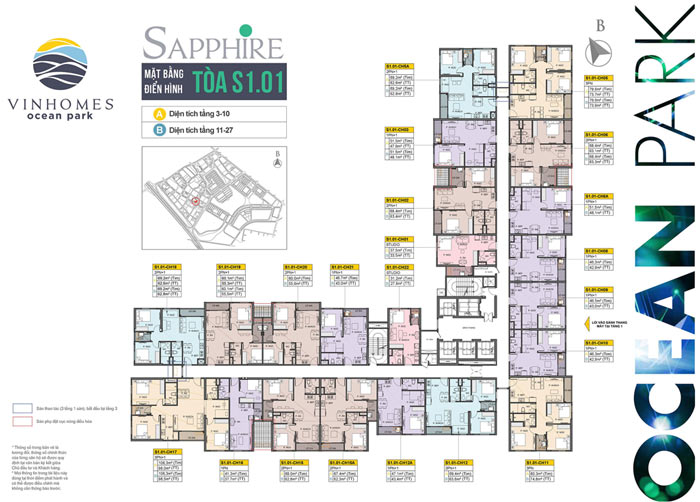 Mặt bằng tòa S1.01 phân khu Sapphire 1