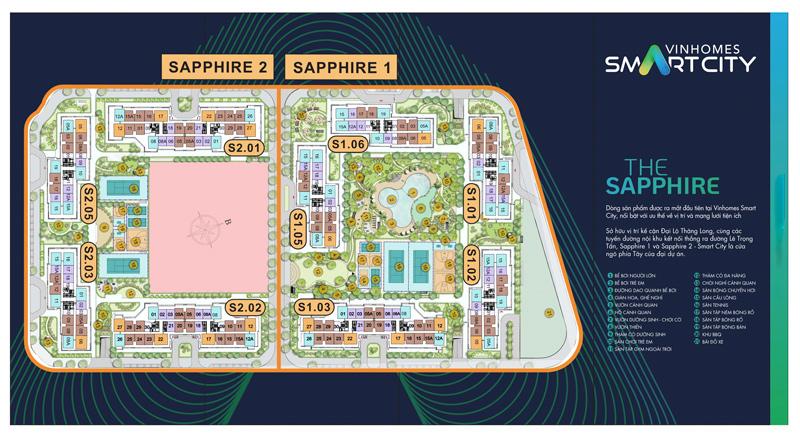 Mặt bằng tổng thể phân khu Sapphire 1 và Sapphire 2