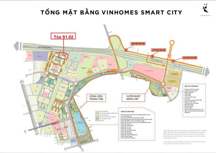 Vị trí tòa S1.02 trên mặt bằng tổng thể đại đô thị Vinhomes Smart City
