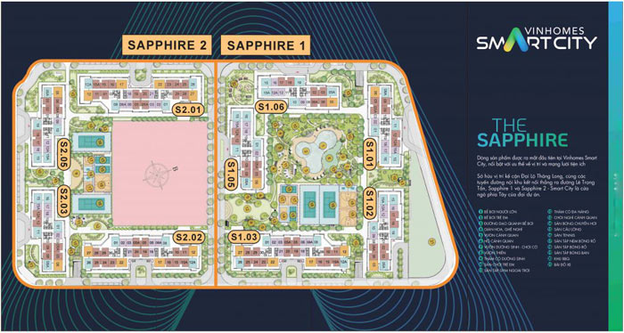 Vị trí tòa S1.02 trong phân khu The Sapphire 1