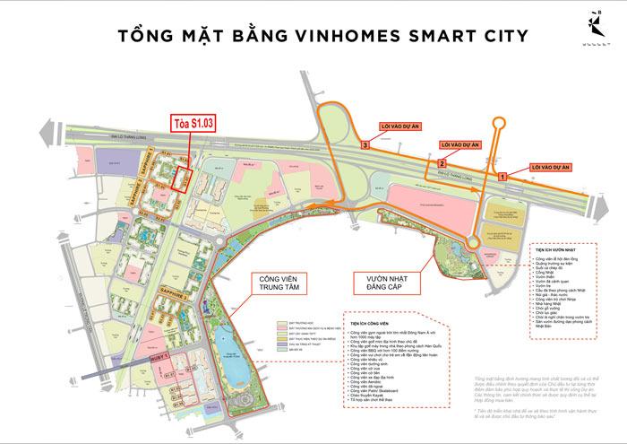 Vị trí tòa S1.03 trên mặt bằng tổng thể đại đô thị Vinhomes Smart City