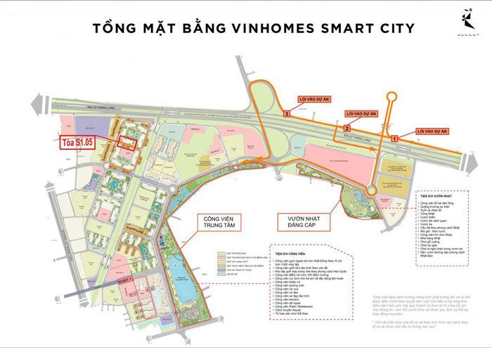 Vị trí tòa S1.05 trên mặt bằng tổng thể đại đô thị Vinhomes Smart City