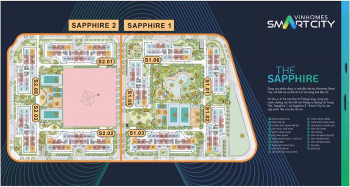 Vị trí tòa S1.05 trong phân khu The Sapphire 1
