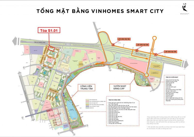 Vị trí tòa S1.01 trên mặt bằng tổng thể đại đô thị Vinhomes Smart City