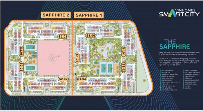 Vị trí tòa S2.02 trong phân khu The Sapphire 2