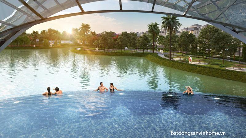 Bể bơi ngoài trời có mái che tại Vinhomes Green Villas