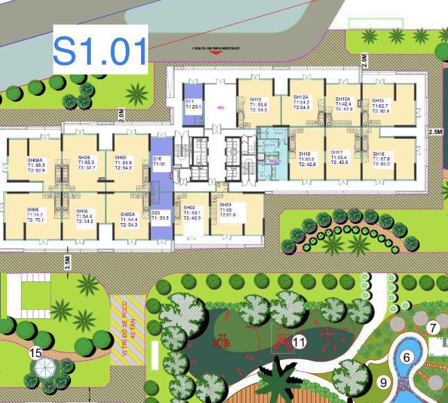 Mặt bằng điển hình shophouse khối đế Vinhomes Smart City