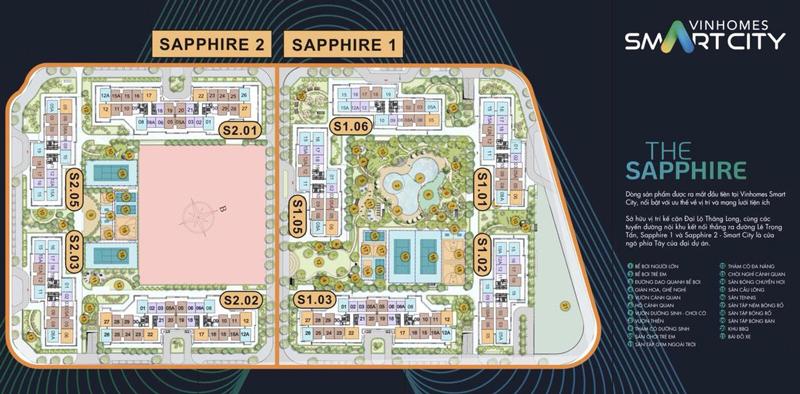 Mặt bằng phân khu Sapphire 1 và Sapphire 2