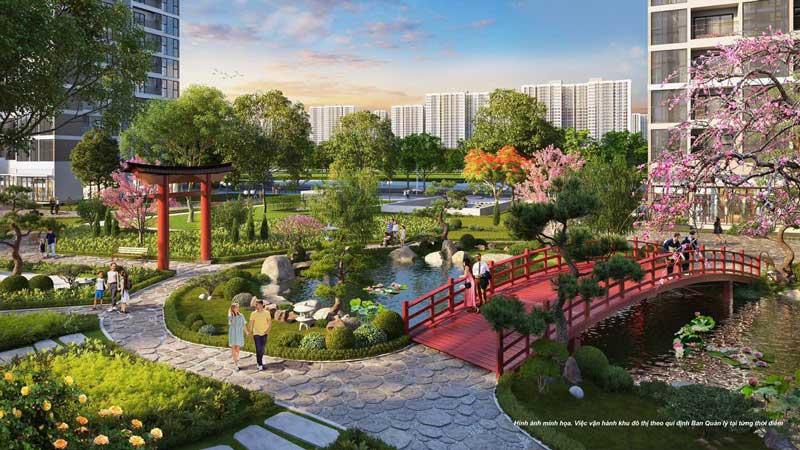 Vườn Nhật tuyệt đẹp tại Ruby 1 Vinhomes Ocean Park