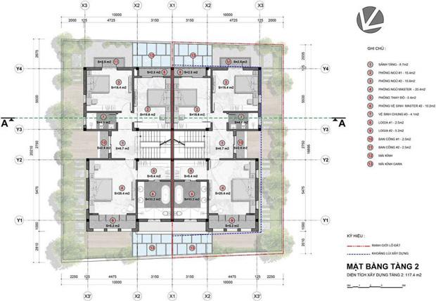 Mặt bằng tầng mẫu biệt thự Song Lập – Tầng 2