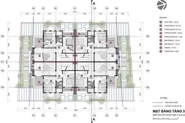 Mặt bằng tầng mẫu biệt thự tứ lập – Tầng 3