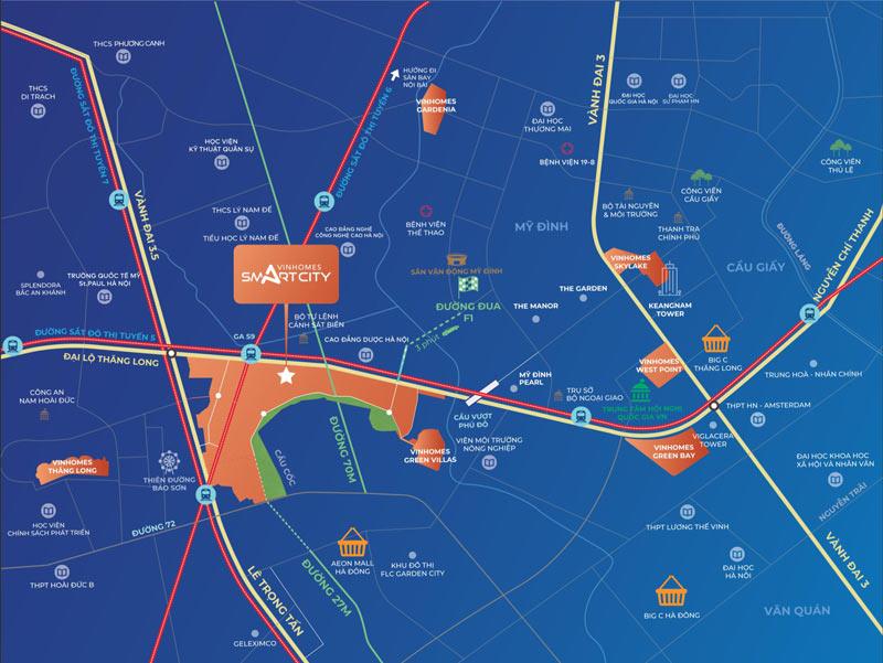 Vị trí dự án Grand Sapphire Smart City Tây Mỗ