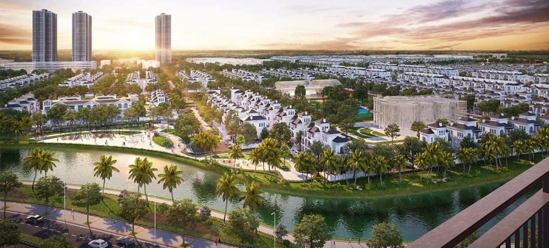 Công viên ven sông tại Zone 2 mang đến màu sắc xanh mát cho tổng thể dự án