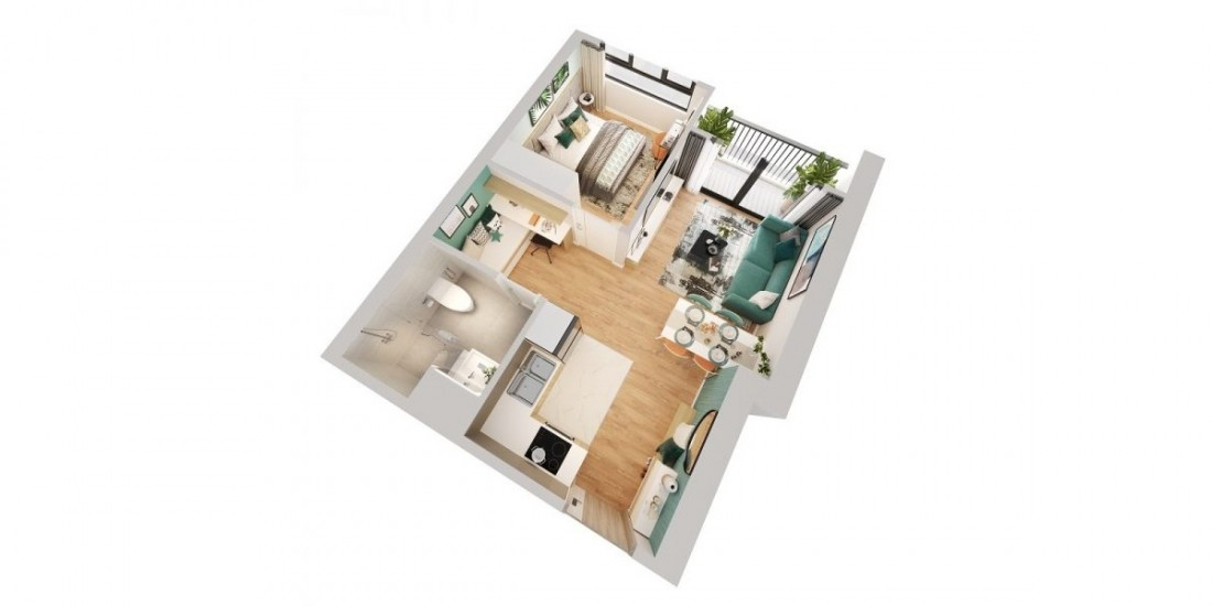 Layout thiết kế mẫu căn 1 phòng ngủ điển hình với phòng công năng cộng đặc biệt