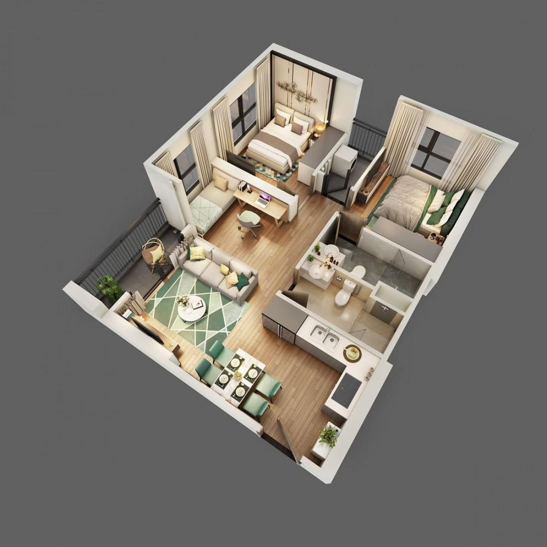 Layout thiết kế mẫu căn hộ 2 phòng ngủ + 1 khác
