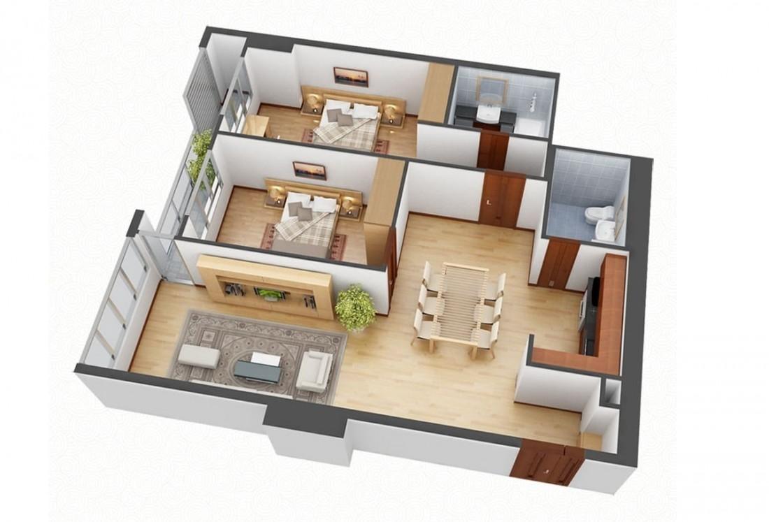 Layout thiết kế mẫu căn hộ 2 phòng ngủ truyền thống