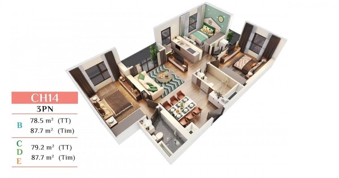 Layout thiết kế mẫu căn hộ 3 phòng ngủ