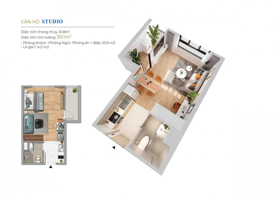 Layout thiết kế sản phẩm Studio đây thông thoáng và hiện đại