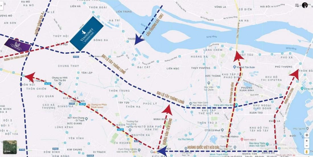 Mạng lưới liên kết vùng Vinhomes Đan Phượng chặt chẽ
