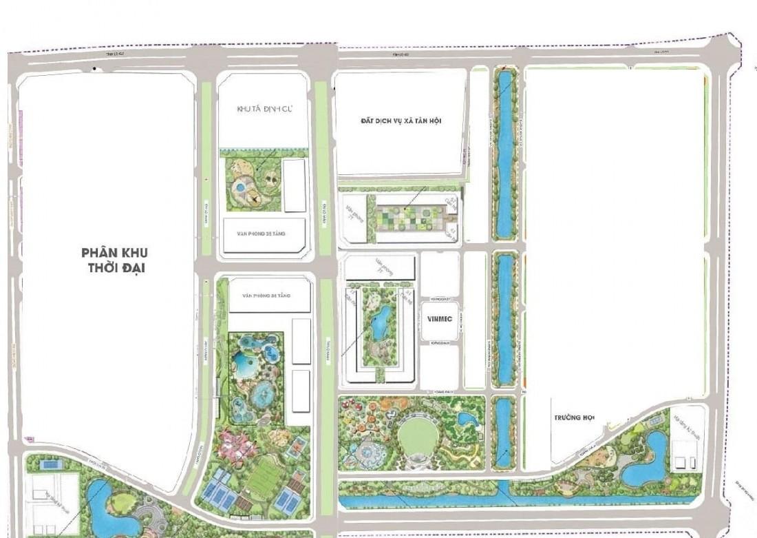 Mặt bằng bố trí các phân khu phát triển của Vinhomes Wonder Park