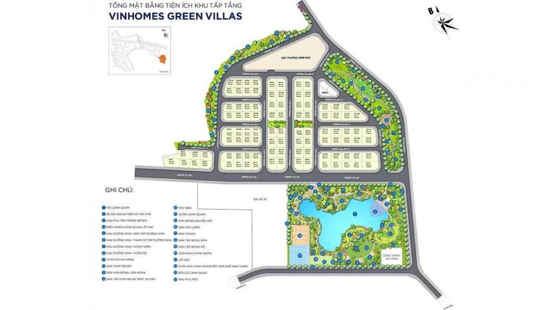 Mặt bằng tổng thể phân khu thấp tầng biệt thự Vinhomes
