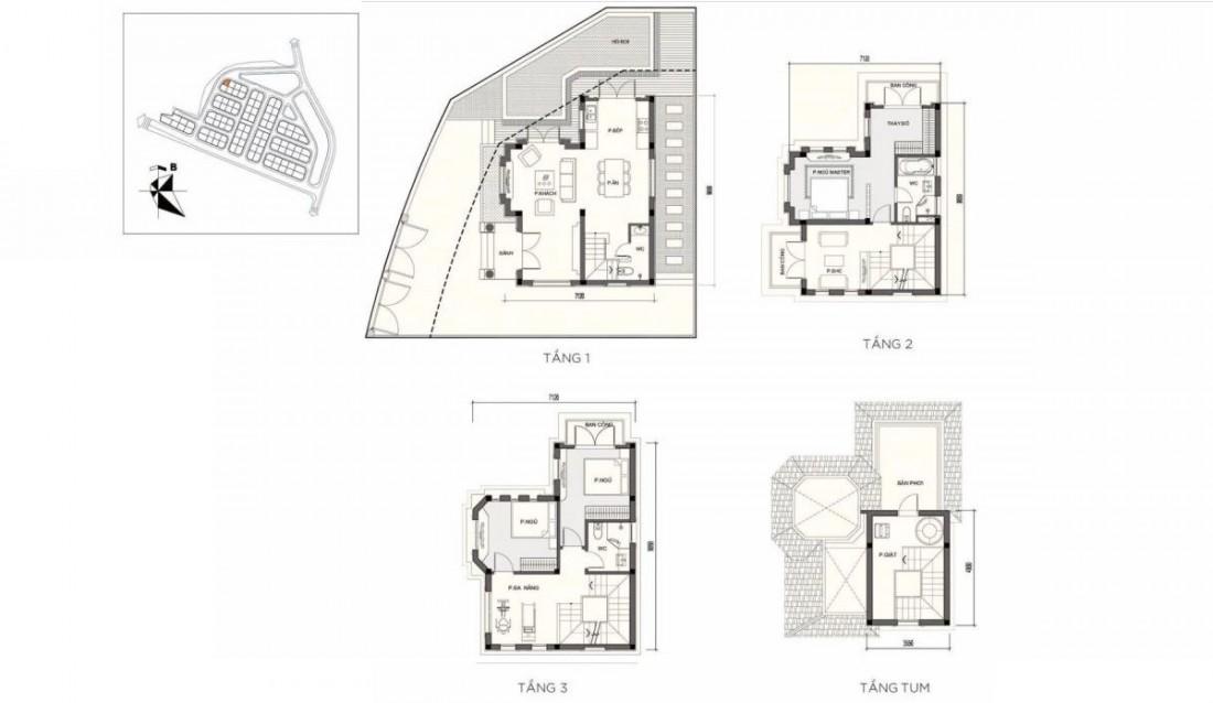 Mặt bằng xây dựng biệt thự đơn lập mẫu DL01
