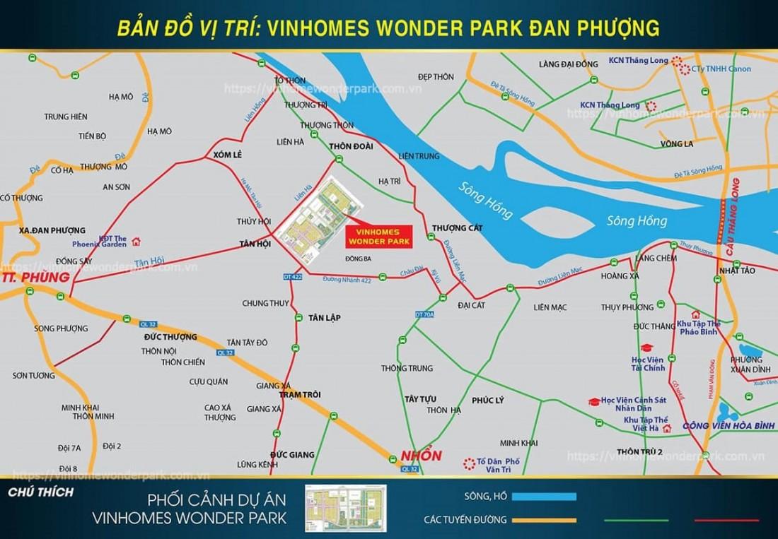 Vị trí KĐT Vinhomes Wonder Park Đan Phượng